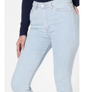 American Apparel High Waisted Striped Jeans